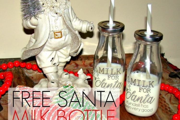 I love these adorable Santa Milk Bottles! And they come with a free SVG Cut File that can be used with both a Silhouette and Cameo.