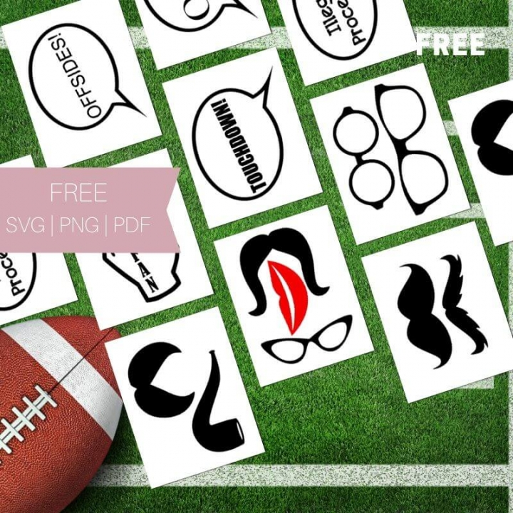 Free Football SVG Photo Booth Props