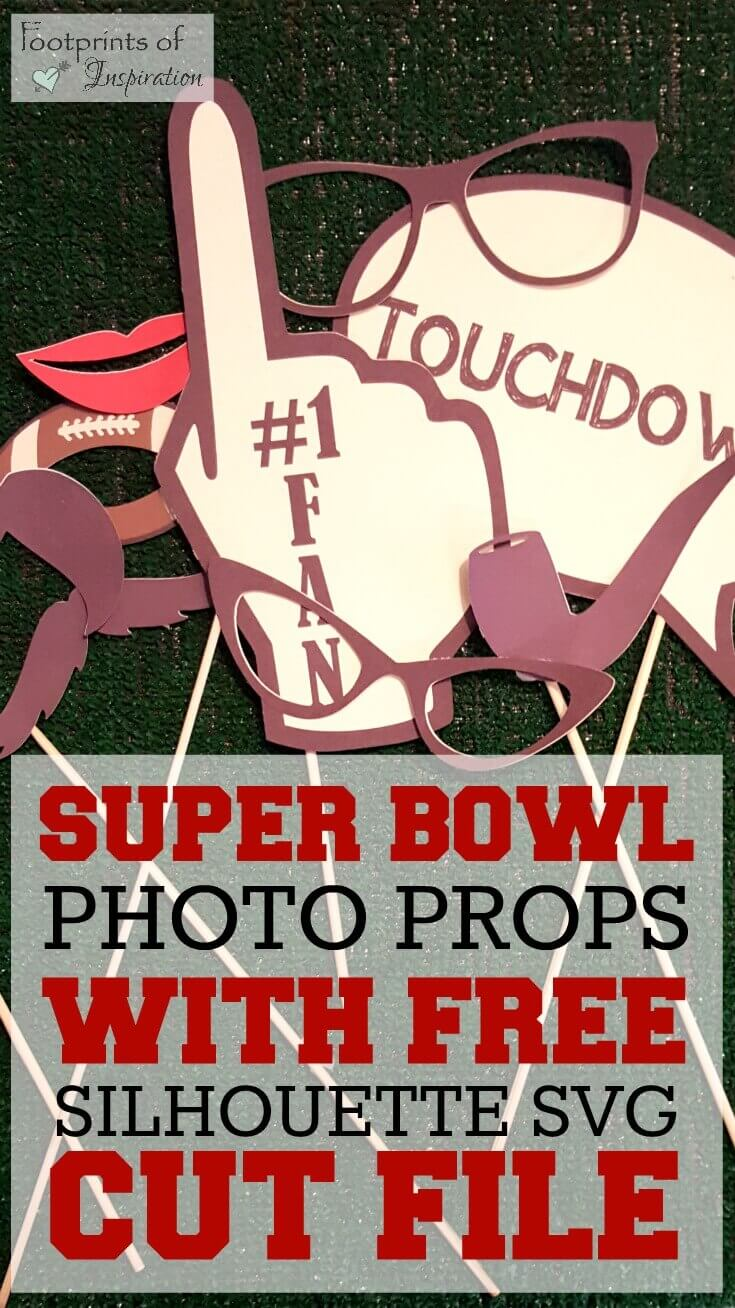 I love these football photo booth props and they come with a free SVG cut file for use with your Silhouette or Cameo.