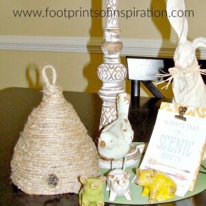 I'm loving this adorable easy DIY beehive! It'll look perfect in my spring vignette or on my front porch!