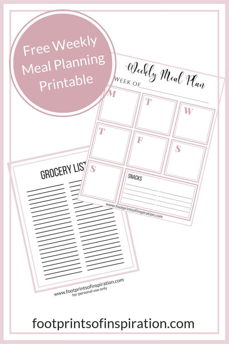 Do you have trouble with the 5:00 hour? Are you always behind when it comes to making dinner? Check out how to to manage your time and start meal planning the easy way. #footprintsofinspiration #freebie #freeprintable #mealplanning #family #dailygoals