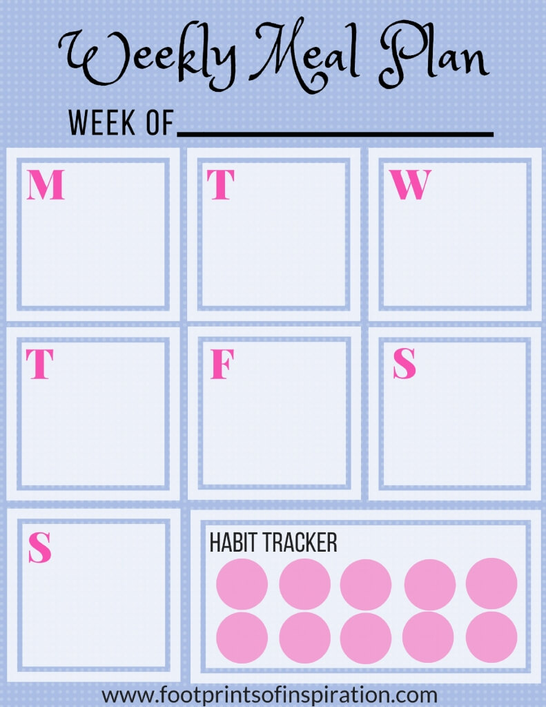 free weekly meal planner printable footprints of inspiration