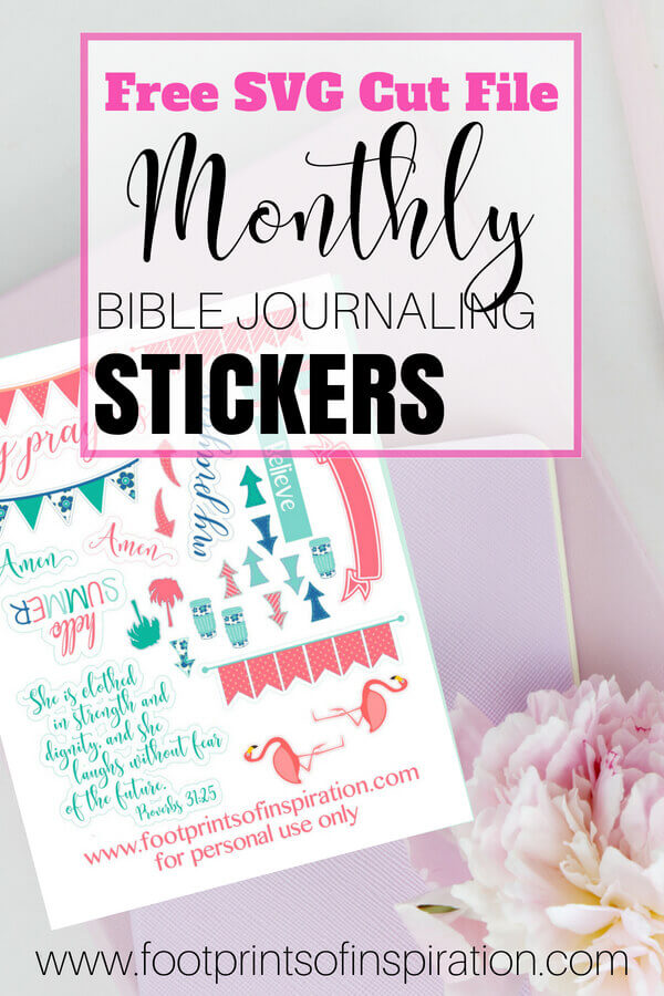 I love these FREE Monthly Bible Journaling Stickers! They are so darn cute and automatically arrive in my inbox every month! They're an SVG cut file and I love using them with my Silhouette and Cricut cutting machine!