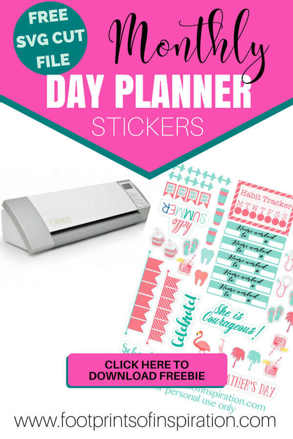I love these FREE Monthly Day Planner Stickers! They are so darn cute and automatically arrive in my inbox every month! They're an SVG cut file and I love using them with my Silhouette and Cricut cutting machine!