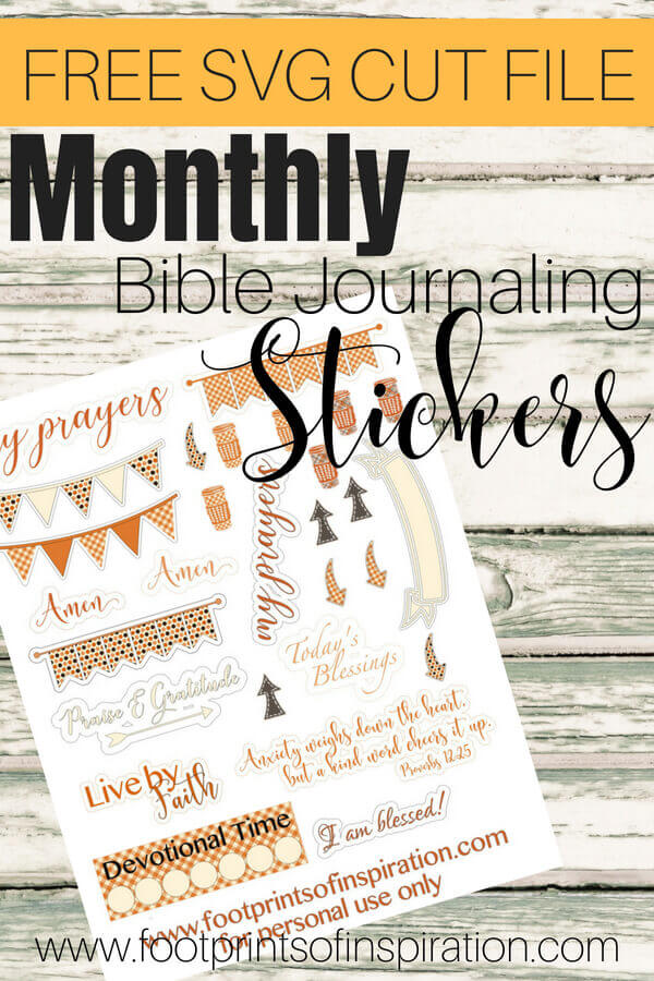 Check out these FREE monthly Bible Journaling Stickers that can be used with your favorite cutting machine! #footprintsofinspiration #bulletjournalinspiration #silhouette #cricut #freestickers #biblejournal #freecutfile