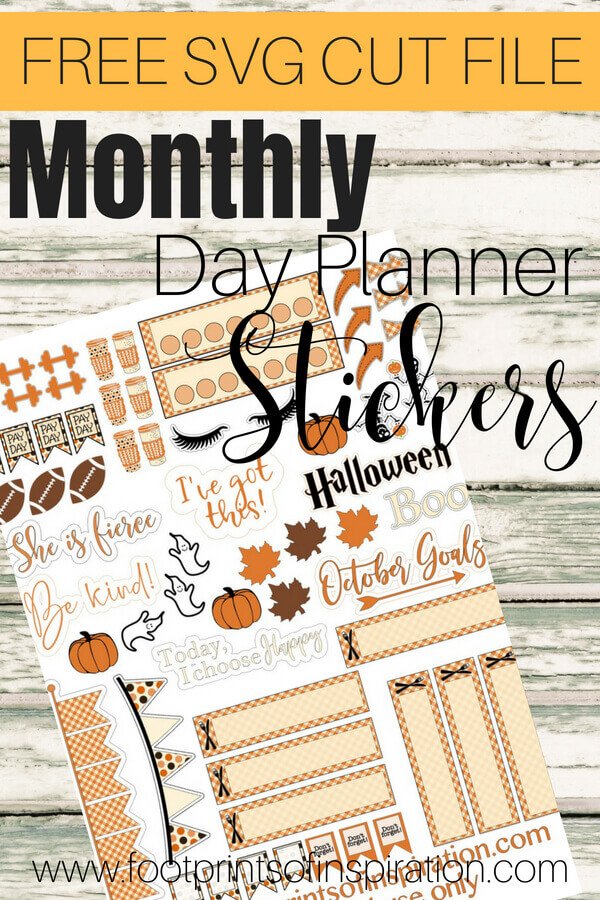 I love these FREE monthly day planner stickers! You can use them with your favorite cutting machine #footprintsofinspiration #dayplanners #plannerstickers #freecutfiles #silhouette #cricut #fallstickers