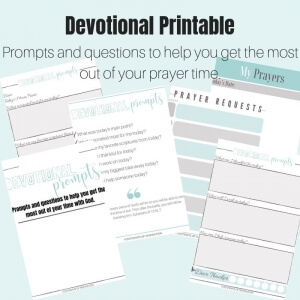 Get the most out of your prayer time with our FREE Devotional Prompts Printable. #footprintsofinspiraton #devotion #prayer #prayerjournal #biblejournaling #freeprintable #christianliving #christianlife