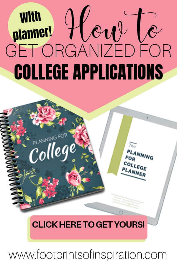 Getting ready for college is an incredibly daunting task. Learn how easy it is to get organized and ease the pain of letting me go. #footprintsofinspiration #almostemptynest #family #collegeapplications #tips #parenting #backtoschool #preparingforcollege #howtoprepareforcollege #freshmanyear