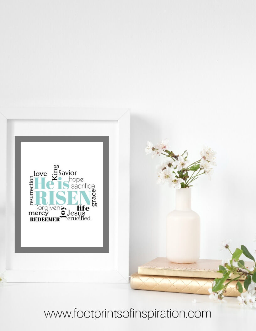 Download our adorable FREE Easter Printables to spruce up your space for the spring. #footprintsofinspiration #easter #easterprintable #freebie #freeprintable #christianliving #chrisitanlife #christcenteredliving