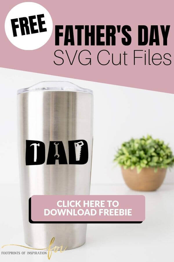 Free Father's Day SVG Cut Files with Dad travel coffee mug