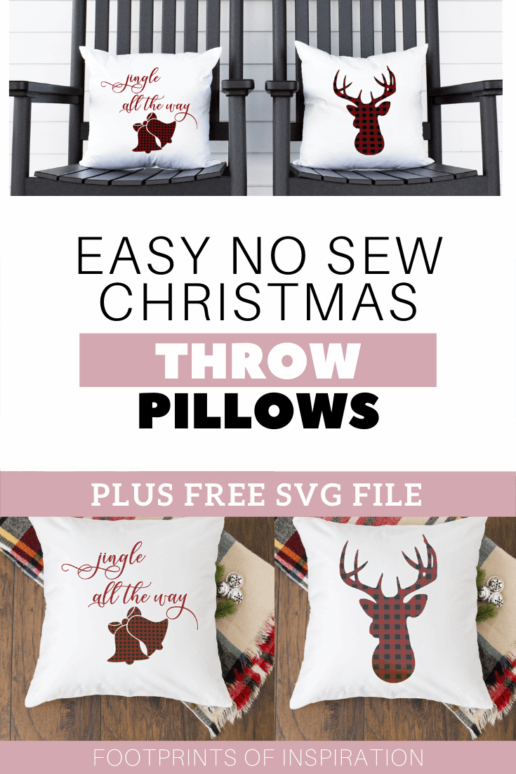 Easy No Sew Christmas Pillows with FREE SVG Cut File