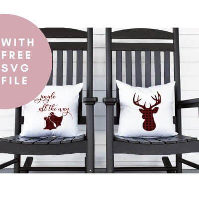 EASY NO-SEW CHRISTMAS PILLOWS (WITH FREE SVG CUT FILE)