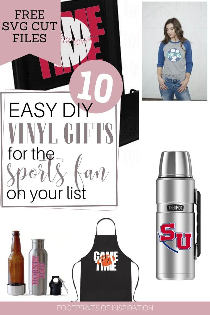 Easy DIY Vinyl Gifts for your Sports Fan including free SVG cut files